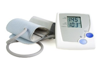 Digital blood pressure meter, isolated on white